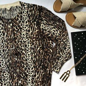 J. Crew Factory classic crewneck leopard cardigan